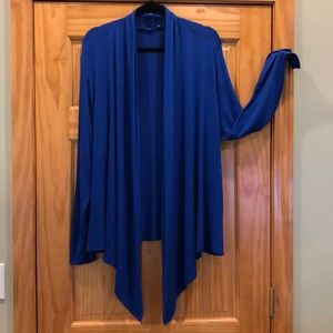 Royal Azure Blue Open Front Rayon Cardigan